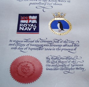 Detail of Presentation of the City & County of Swansea Freedom of the City to HMS Scott 2006